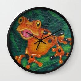 Orange Frog with Black Spots Wall Clock