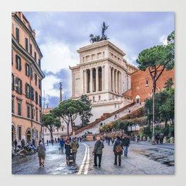 Urban Winter Street Scene, Rome, Italy Canvas Print