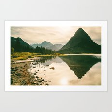 Mountain Reflecting the Lake in Many Glacier  Art Print