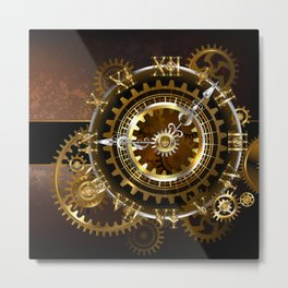 Steampunk Clock with Gears Metal Print