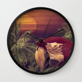 Tropical Style Collage Design Poster Wall Clock