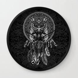 White Owl Dreamcatcher Aztec Pattern Wall Clock