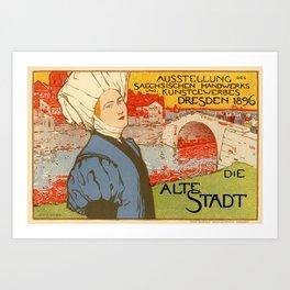 Belle Epoque vintage poster, Alte Die Stadt Art Print