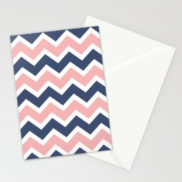 Zig Zag Chevron Pink and blue waves pattern Stationery Cards