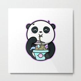 Kawaii T-Shirt Ramen Noodles Panda Bear Kawaii Clothes Shirt T-Shirt Metal Print