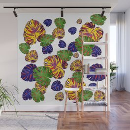 GREEN-GOLD-PURPLE TROPICAL LEAVES ART Wall Mural