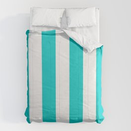 Vertical Stripes - White and Cyan Comforters