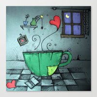 cup Canvas Prints featuring cup by Maria Sciarnamei