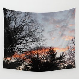 red clouds in the sky Wall Tapestry