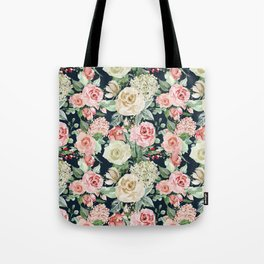 Country chic navy blue pink ivory watercolor floral Tote Bag
