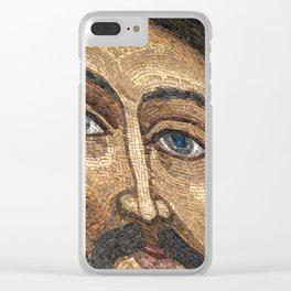 Christian mosaic with image of Jesus Christ on the wall of the Trinity Cathedral in Pochaev Lavra Clear iPhone Case