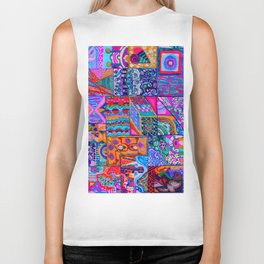 Colorful Designs in Boxes Biker Tank