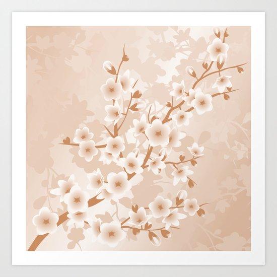 Floral Cherry Blossoms Beige Art Print
