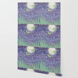 Moonlit stars, luna moths, snails, & irises Wallpaper