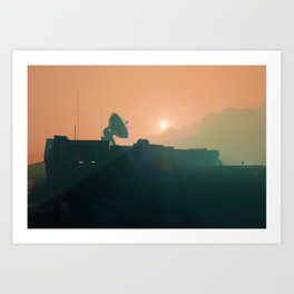 Sunset on Mars space base radar dish and an astronaut, planet landscape Art Print