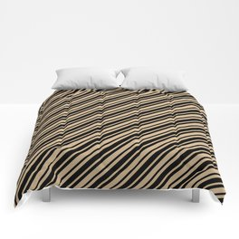 Tan Brown and Black Diagonal RTL Var Size Stripes Comforters