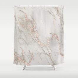 Marble Rose Gold Blush Pink Metallic by Nature Magick Shower Curtain