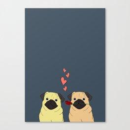 Valentines Pugs Canvas Print