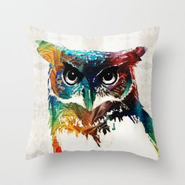 Colorful Owl Art - Wise Guy - By Sharon Cummings Throw Pillow