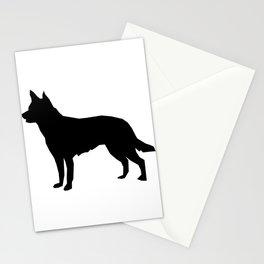 Australian Kelpie dog silhouette dog breed pattern black and white kelpie dog Stationery Cards