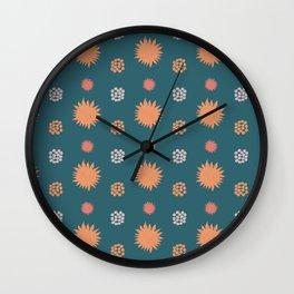 Sunny orange in green Wall Clock