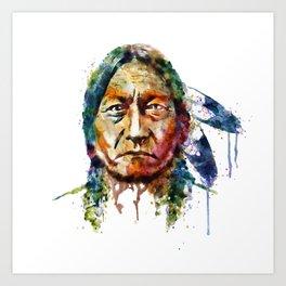 Sitting Bull watercolor painting Art Print