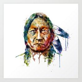 Sitting Bull watercolor painting Art Print