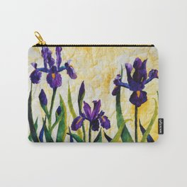 Watercolor Wild Iris on Wrinkled Paper Carry-All Pouch