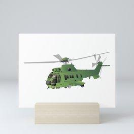 Green Vector Helicopter Mini Art Print