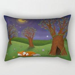 Fox And Bunny Dreaming The Night Away Rectangular Pillow