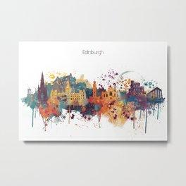 Edinburgh Watercolour Skyline Metal Print