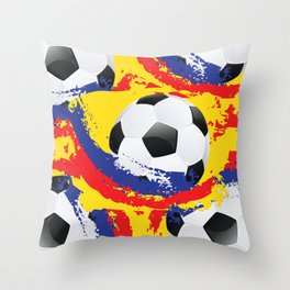 Football Ball and red, blue and yellow Strokes Throw Pillow