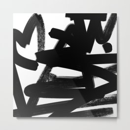 Thinking Out Loud - Black and white abstract painting, raw brush strokes Metal Print