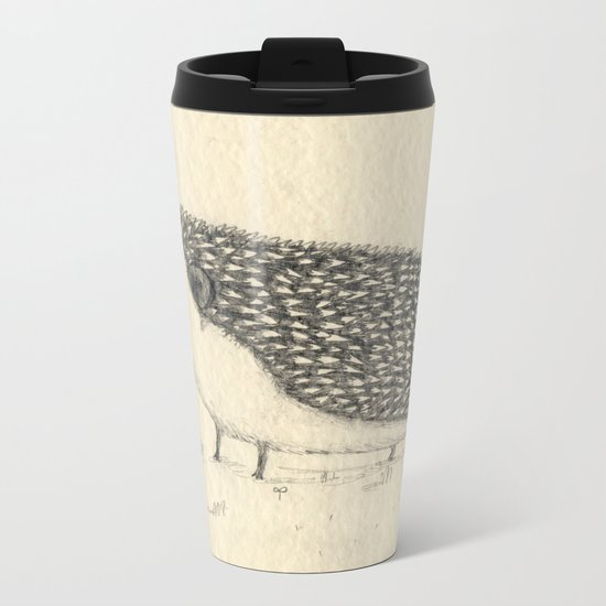 Monochrome Hedgehog Metal Travel Mug