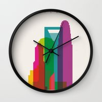 fargo Wall Clocks featuring Shapes of Charlotte accurate to scale by Glen Gould