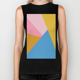 Cute Colorful Diagonal Color Blocking Biker Tank