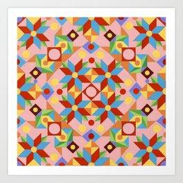 Pink Patchwork Quilt (printed) Art Print