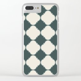 Ornamental Moroccan Alpaca Wool Cream & Night Watch Tile Pattern with Scarborough Green Border Clear iPhone Case