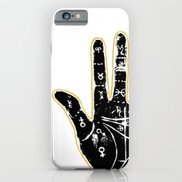 Black palmistry hand iPhone Case