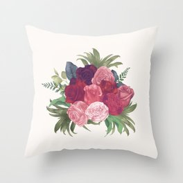 Pink Flowers Painting Throw Pillow