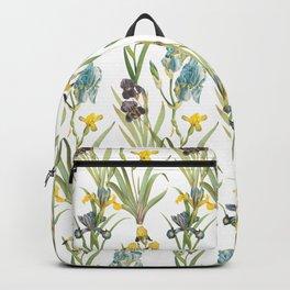Irises 1   Iris Flowers   Vintage Floral Pattern   Flower Patterns   Backpack