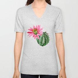 Cactus Watercolor Pink Bloom Cactus Unisex V-Neck