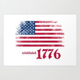 American Flag Established 1776 Vintage Print Art Print