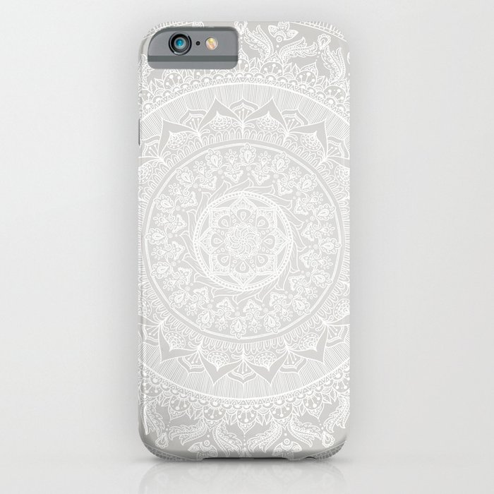 mandala soft gray iphone case