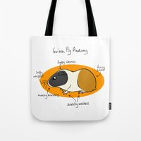 guinea pig Tote Bags featuring Guinea Pig Anatomy by mausekonig