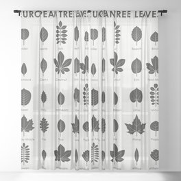 European Tree Leaves Sheer Curtain