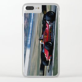 Sketch of F1 Champion Jody Scheckter - year 1979 car 312 T4 - Vertical Clear iPhone Case