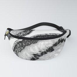 Gray Black White Agate with Black Silver Glitter #3 #gem #decor #art #society6 Fanny Pack