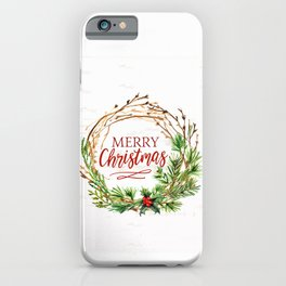Merry Chirstmas - Farmhouse Style Watercolor Artwork iPhone Case