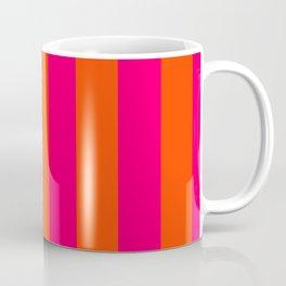 Bright Neon Pink and Orange Vertical Cabana Tent Stripes Coffee Mug
